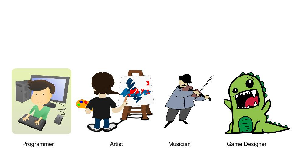 Programmers, Artists, Musicians, Game Designers.